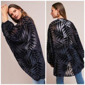 Anthropologie Floreat Fern Velvet Cocoon Kimono